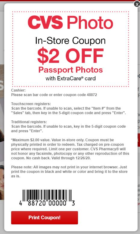 Passport photo coupon