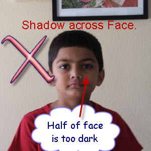 shadow across face in photo